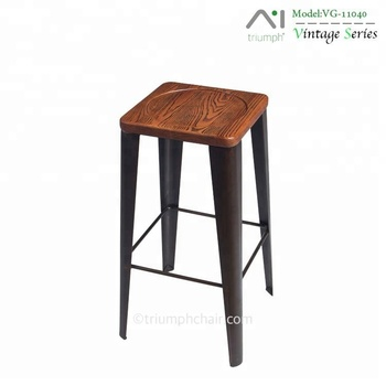 Triumph Industrial Metal Bar Counter Stool Solid Wood Seat Bar Stool