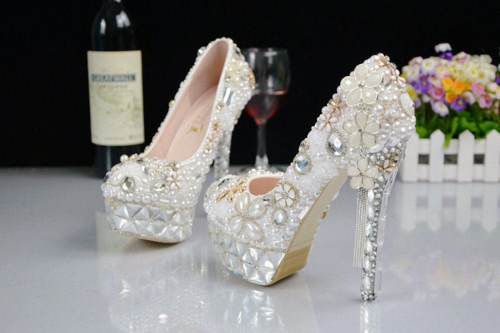 High Ultra Bride Shoes Pearl for Beautiful Shoes Wedding Dress Crystals Heel Shoes BS035 Luxurious Rhinestone 6ExvwWA6qt