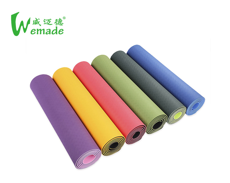 Multi color anti fatigue private label double layer light weight washable TPE yoga mat