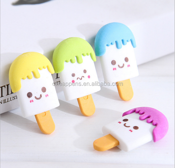 china supplier cheap price ice cream 3d erasers with different expression