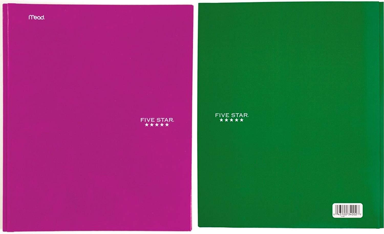 Five Star (TM) Pocket & Prong Paper Folder, Letter-Size (Combo Set of 2: Dark Green, Magenta)