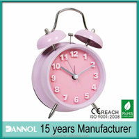 Home Decoration Quartz Metal Table Twin Bell Alarm Clock Logo with Pink Bell