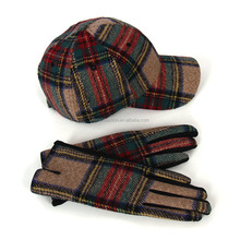 Wholesale Customized Women Plaid Hats And Gloves Sets