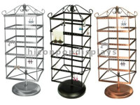 Custom 4-Way Iron Table Top Bronze Color Jewelry Retail Store Rotating Earring Display Fixtures
