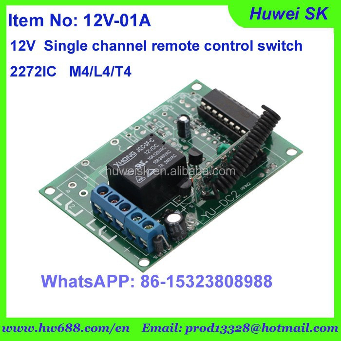 12V Single way of remote control switch contains 2272IC T4/M4/L4 working model for choice