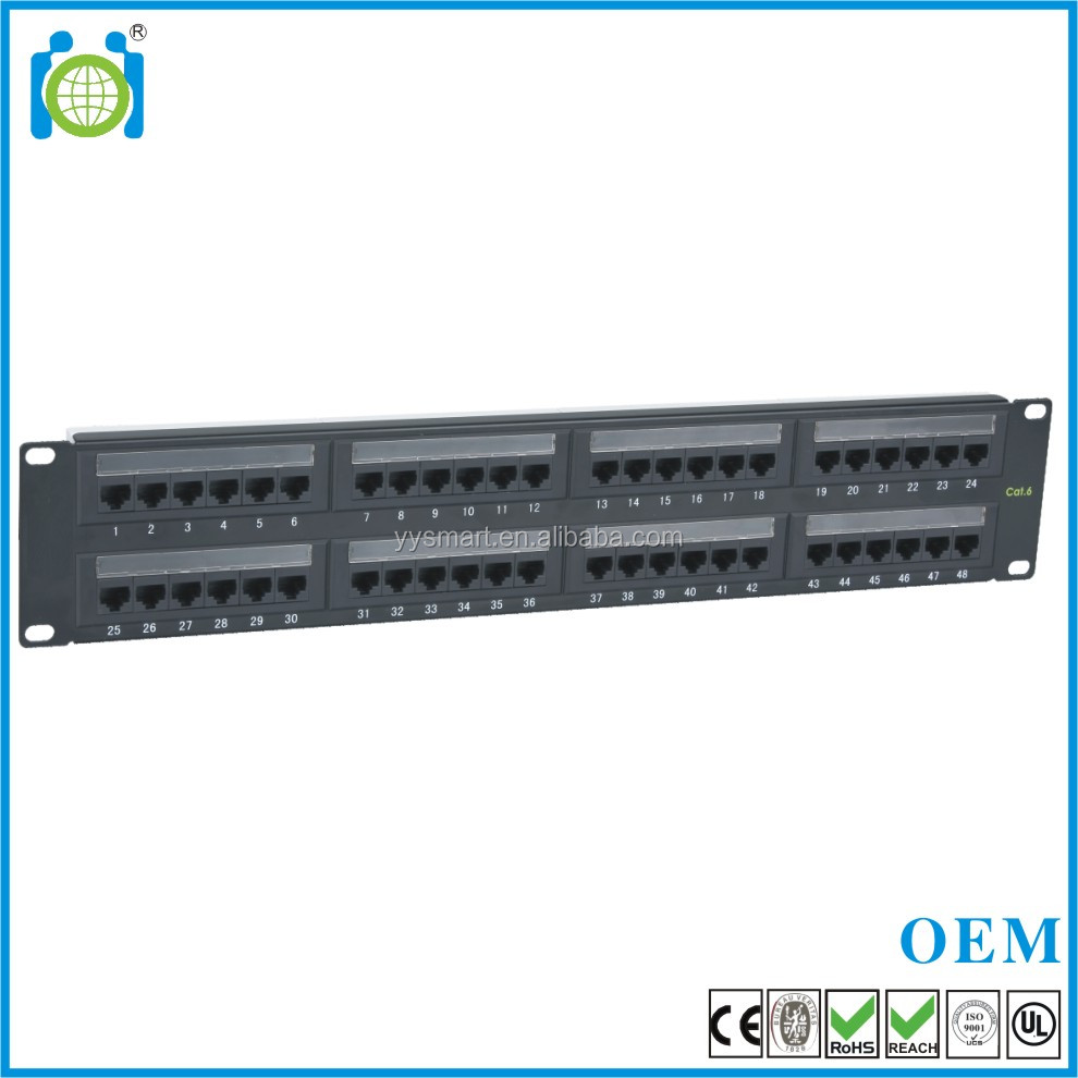 48 Port 19 Inch 2U CAT5e CE/ROHS/REACH Dual UTP networking patch panel