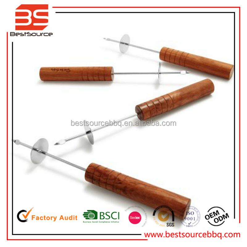 Stainless steel skewers with hook and puch slicer,4pcs bbq skewers made in China