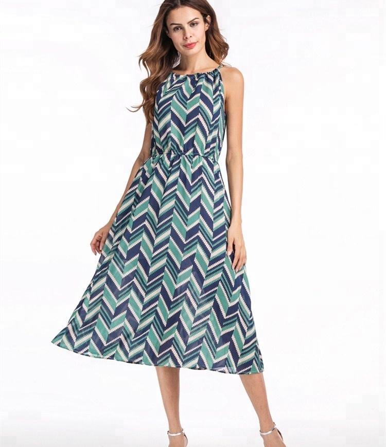 11361c7142b A3797 Женская мода Последние плиссированные шифоновые платья с рисунком