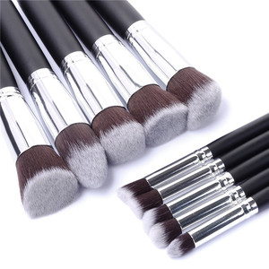 10pcs professional face synthetic cosmetic make up brushes foundation eyeshadow blush pincel maquiagem kabuki makeup brush set