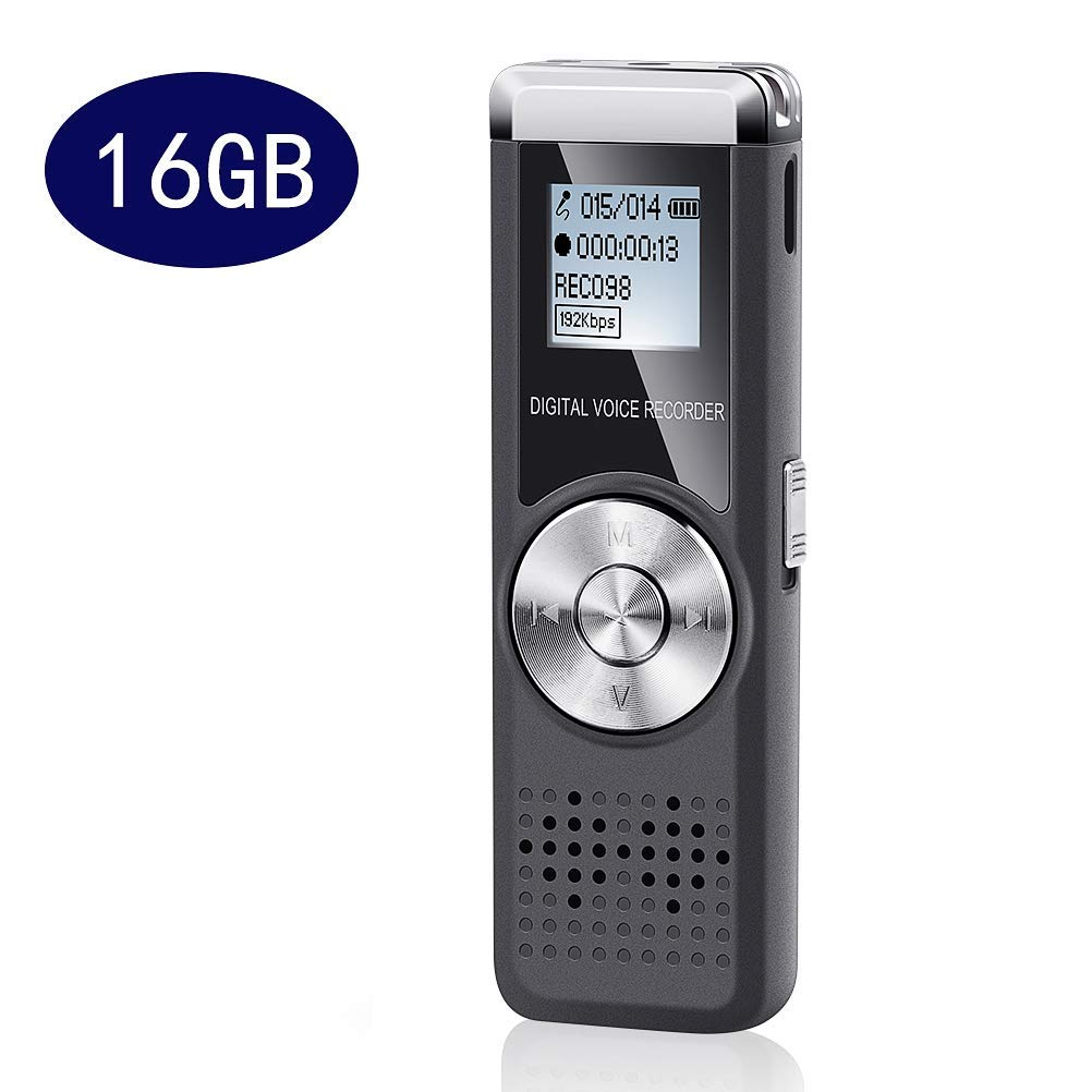 Csean Voice Recorder 16GB Digital Audio Voice Device USB Sound Activated Rechargeable Mini Recording Microphone Dictaphone for Class/Lecture/Meeting/Interview with Mp3 Player