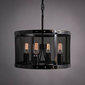 American industrial retro-round chandelier decorative chandeliers chandelier iron cage bar caf¨¦ clothing store 4125cm