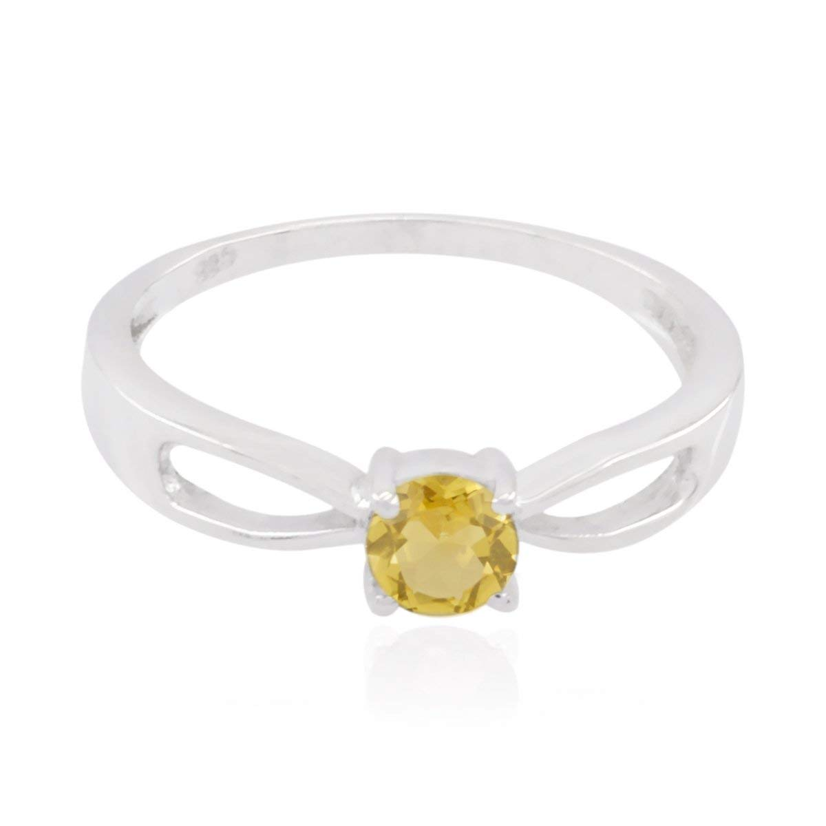 Real Gemstones Round Faceted Citrines Rings - Fashion Silber Yellow Citrines Real Gemstones Ring - jents Jewelry Great Selling Items Gift for Teacher's Day Stacking Rings -US 4
