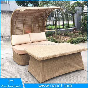 Asian Vietnam Luxury Classic Wicker Outdoor Daybed With Canopy