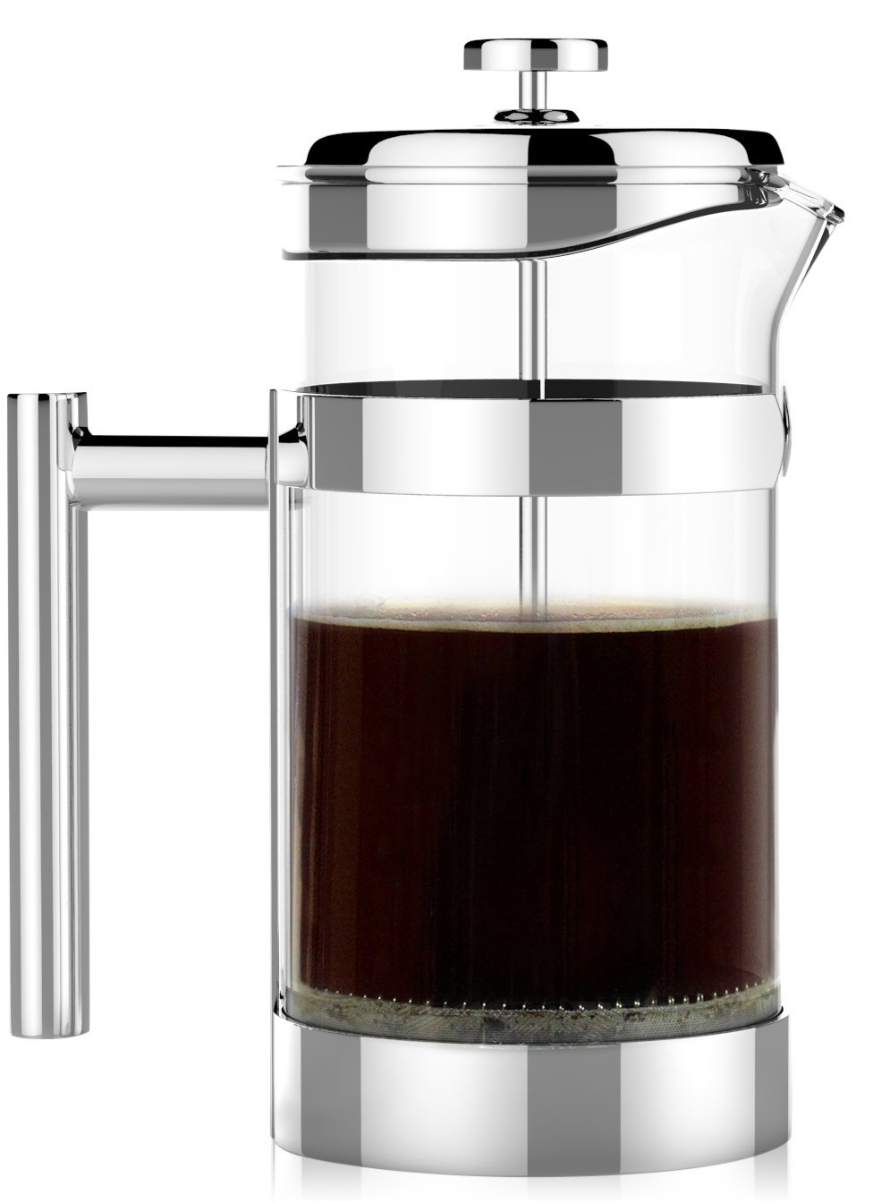 The Original VERO Chambord French Press 34oz (1 Liter) – #1 Best Selling All Stainless Steel and Glass French Press - Sovrano International Coffee and Tea Press – 100% Plastic Free