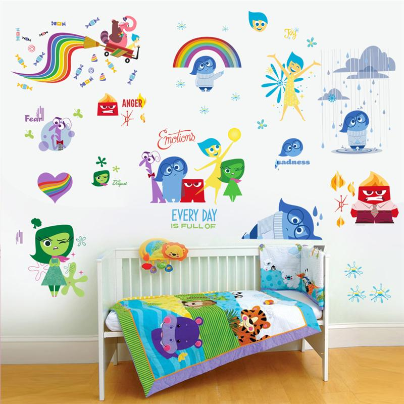 INSIDE OUT wall stickers kids bedroom decoration io007 diy children home decals riley cartoon film mural art movie posters 5.0