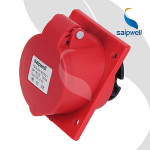 SAIPWELL 5P 16A IP44 CEE Panel Mounted Oblique Waterproof Electrical Socket
