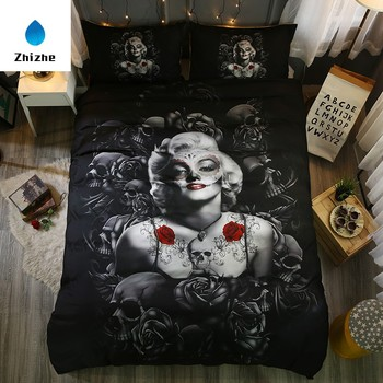 European and American style rose Monroe print 4 pieces 3D duvet cover set