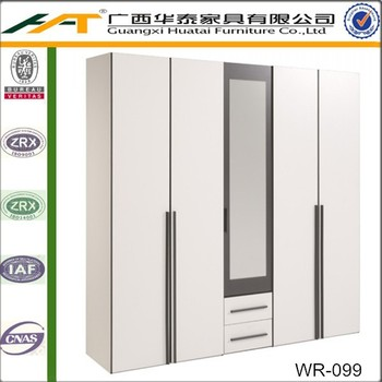 White 5 Door Wardrobe   White & Dark Grey Storage Bedroom Set - Buy ...