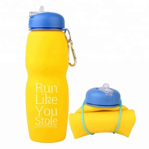 Portable Folding Private Label Water Bottle With Straw Waterbottle Custom Logo