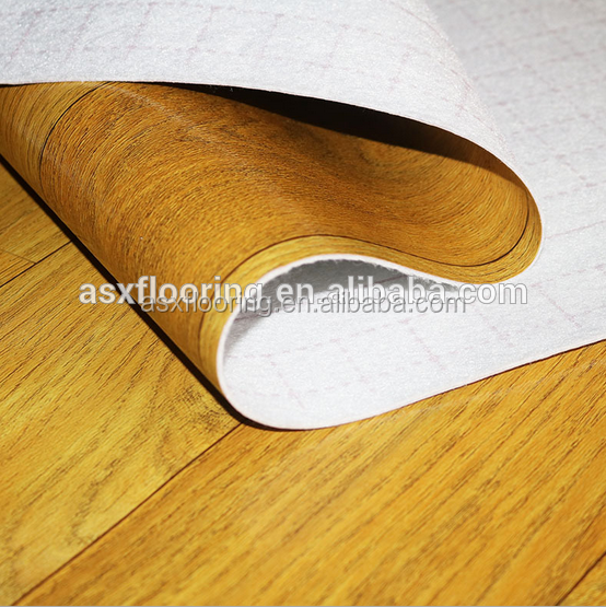 Wood look vinyl floor pvc rolls white back flooring