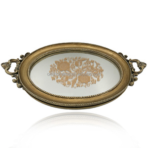 Antique style resin mirror serving tray for home decoration