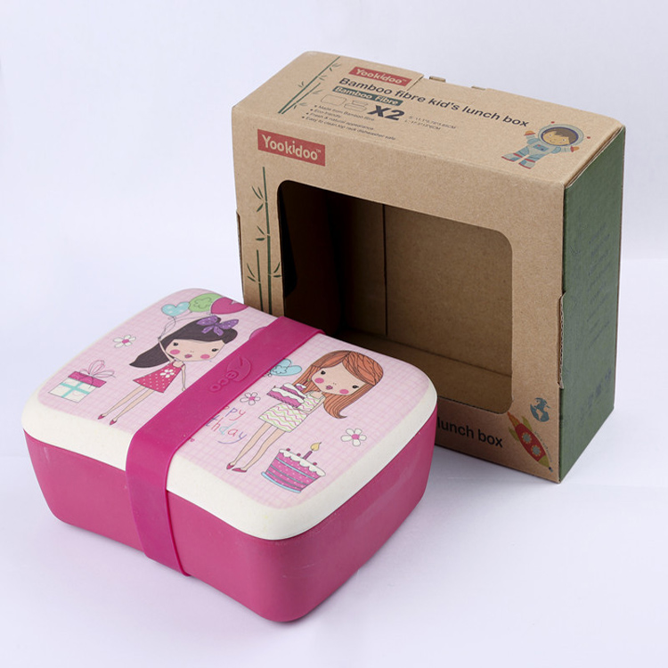 Creative Cute Eco-friendly Fibre Kinder Mittagessen Bambus Bento Box mit Fächern