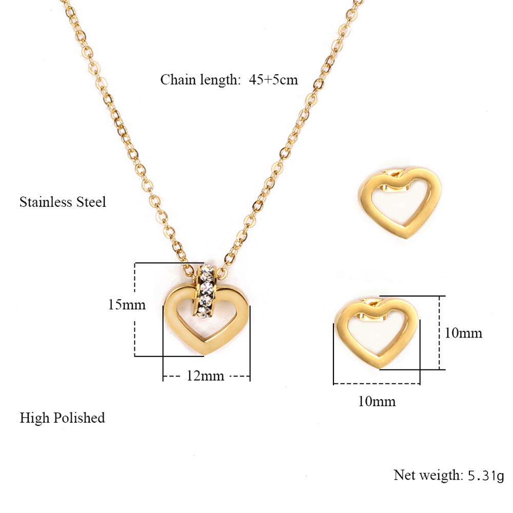 High quality gold plated stainless steel heart shaped necklace and earrings jewelry set