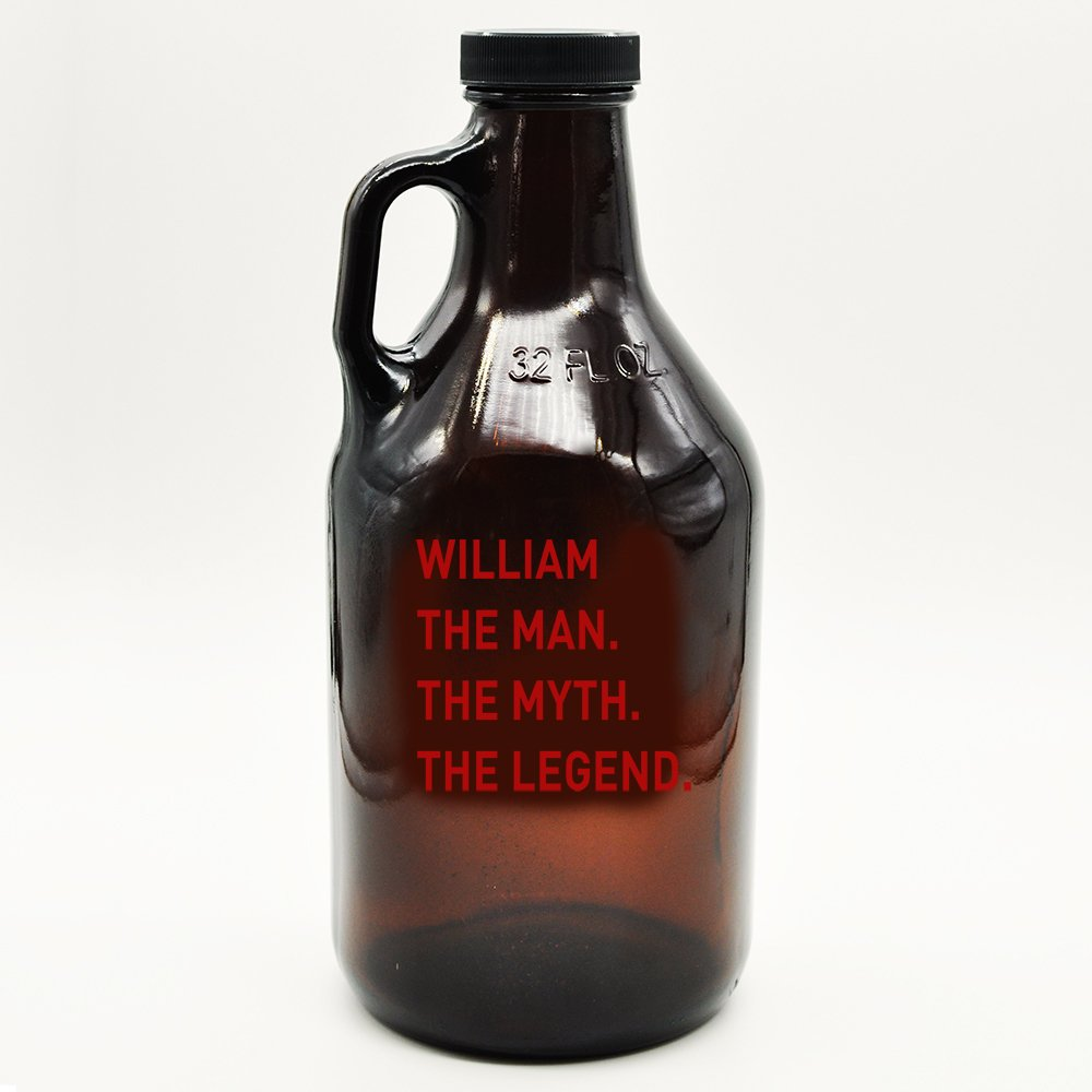Custom Amber Growler Custom Man Myth Legend Design | Personalized Gifts | Beer Brewing | Beer Growlers | Custom Name Gifts | Gifts for Guys | Groomsmen Gift (32 oz, Red)