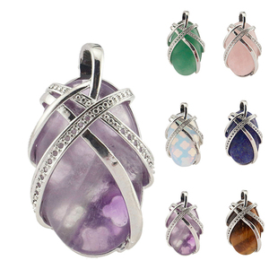 Handmade adjustable natural stone jewelry silver plated egg shape semi precious gemstone pendants