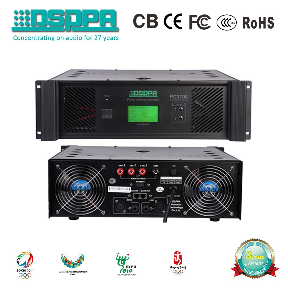 DSPPA PC3700 1500 Watt Harga Power Amplifier 70V 100V Commercial sound system