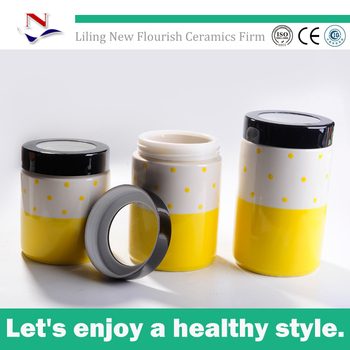 4 5 Yellow Ceramic Canister Tea Coffee Sugar Set For Nfa0067