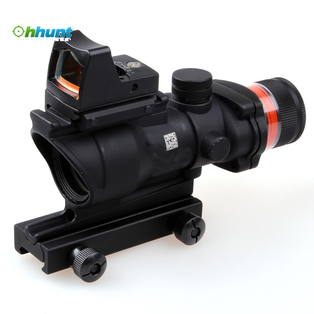Hunting 4x32 Compact Scope Real Fiber Optic Red Illuminated w/Weaver Rail Mini Red Dot