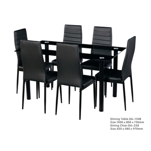 Luxury Modern Fashion Living Room Table Tempered Glass Dining Table Set 6 Chairs Seats Solid Furniture For Dining Room