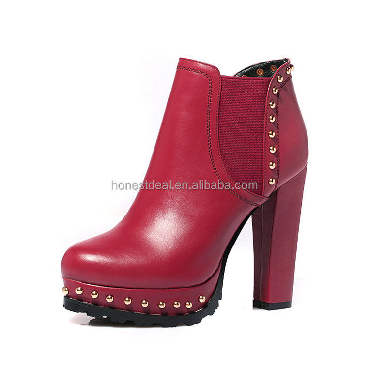 Hot buy women red full grain elastic band split joint rivets high heel platform plus size ankle boots