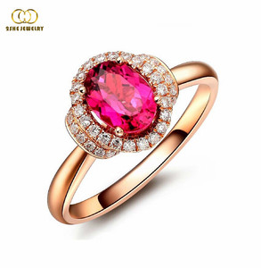 Manufacturing rose gold plated red stone ring
