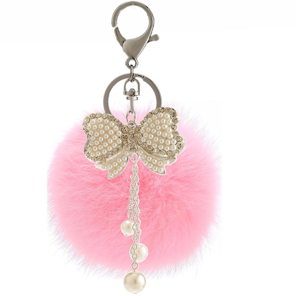 Wholesale promotional cute bowknot chain tassels pearl pompom keychain
