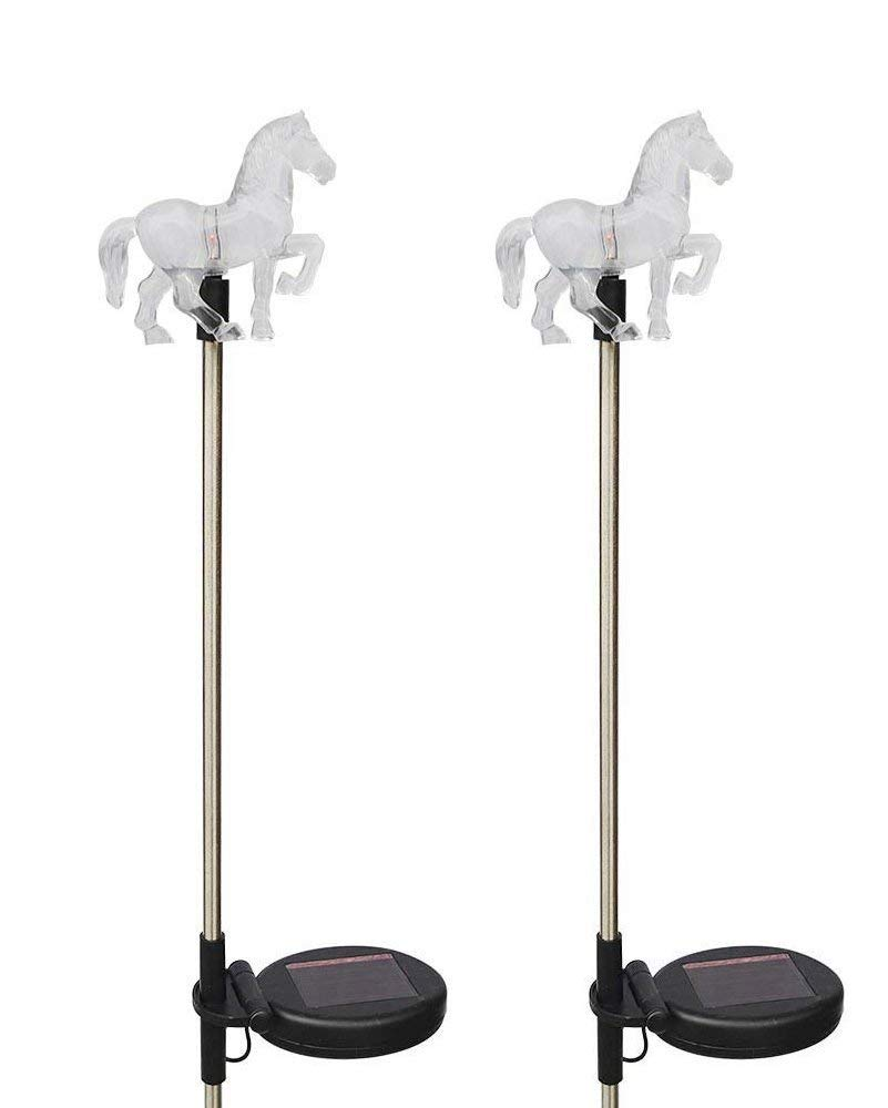 Solar Powered Horse Garden Stake Outdoor Color Change Lights (Set of 2)
