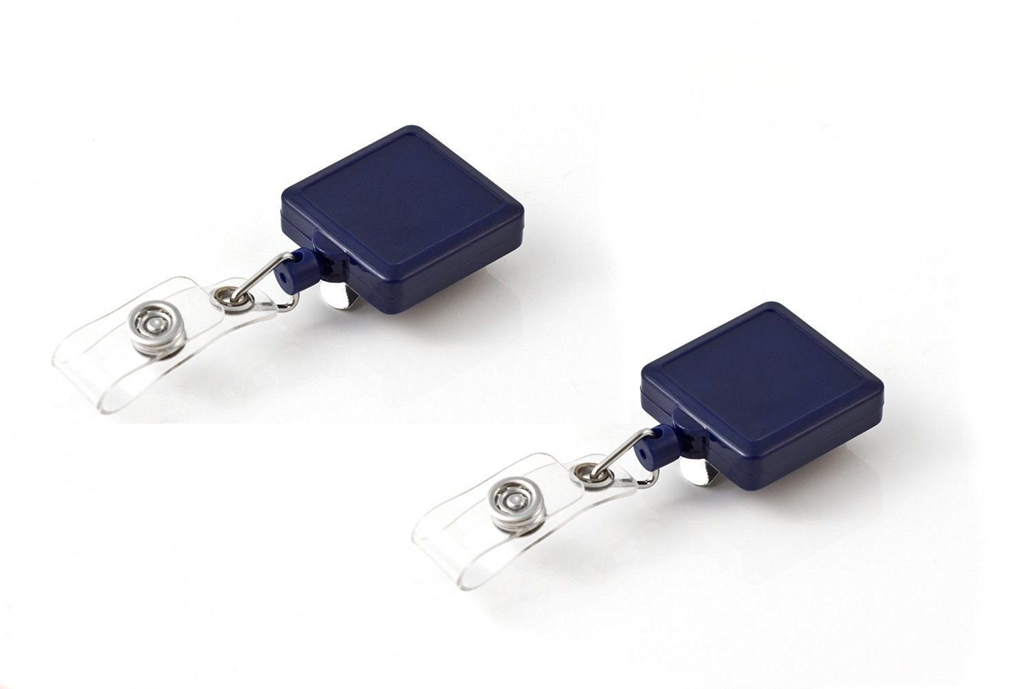 Key-Bak 2-0200-105K Retract-A-Badge ID Square Retractable Reel with 36-Inch Cord, Belt Clip and Vinyl ID Strap, Lot of 2, Blue