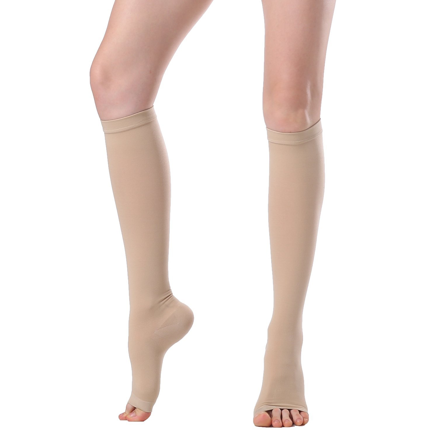 Compression Stockings & Stovepipe Socks Slimming Legging Knee High Sock For Women&Men-20-30mmHg-30-40mmHg Medical Support Hose Compression Socks,Treatment For Swelling,Varicose Veins (XXL, Beige(D))