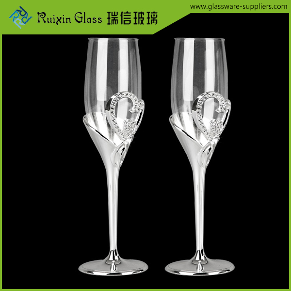 Top quality best sellers champagne glass,silver rim champagne flutes for sale