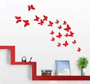 Butterfly Wall Art: 12pcs/pack Red PVC 3d Decorative Butterflies, Removable Wall Art Sticker Decal, Home Decor, Wedding Décor, Nursery Decoration, Bathroom Décor, Office Décor, 3d Wall Art, 3d Crafts, DIY Decoration, By Bladessales
