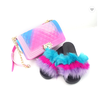 2019 hot sale Jelly Purses with slipper shoes women custom crossbody bag fox fur slides sets
