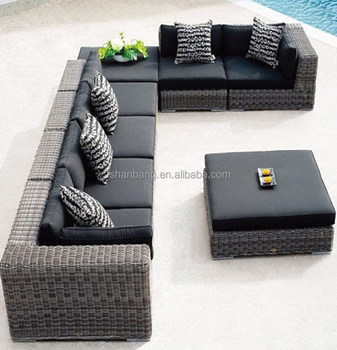 9573a092d22 8 seat gray black Modern Outdoor Backyard Wicker Rattan Patio Furniture Sofa  Sectional Couch Set