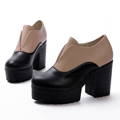 Fashion 2015 Roman Style Thick Platform High Heels Pumps New Sexy Platform Color Match Casual Women Pumps Shoes