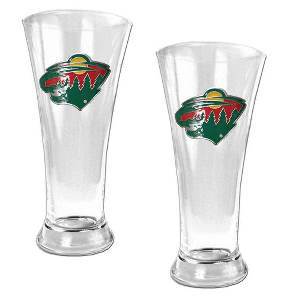 NHL 19oz Pilsner Glass 2 Piece Set - Primary Logo NHL Team: Minnesota Wild