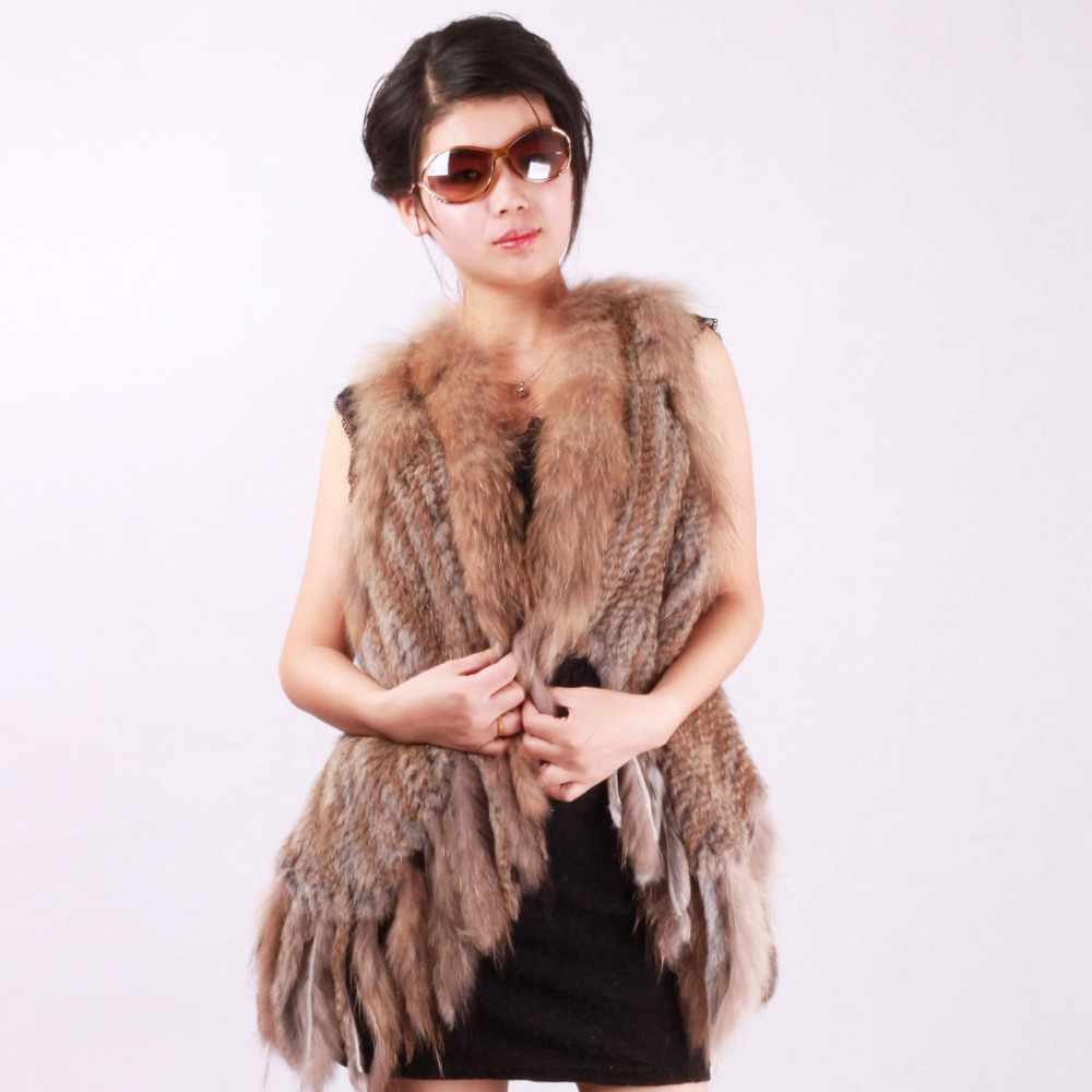 19a732eb6d Get Quotations · Fur Story 13245 2015 Fashion Women s Real Rabbit Fur Vest  with Raccoon Collar Long Tassel Knitted