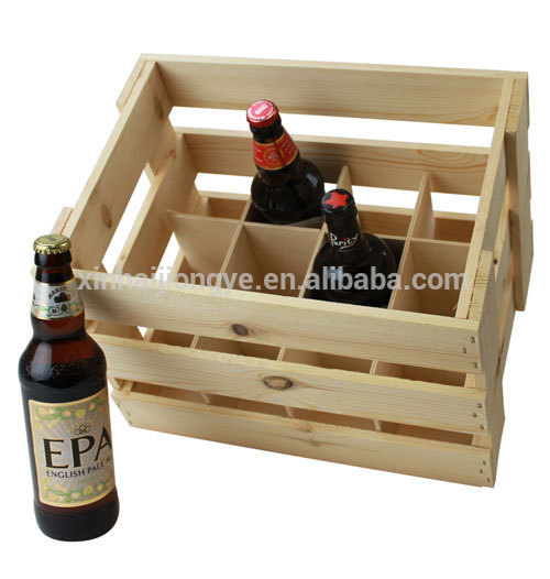 Customized 12 Bottle Wooden Beer Crate With Dividers Buy