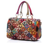2016 new Real 100% Genuine Leather Bags Women Hobo Patchwork Flower Handbags Ladies Tote Bag Colorful big women bag