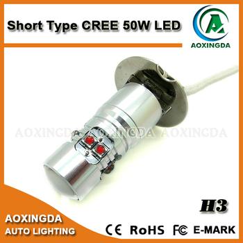 12v 24v Short Type Cree 50w Car H3 Led Bulb Fog Light Lamp