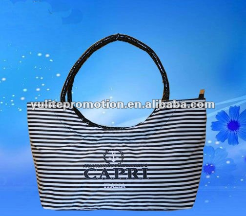 2013 fashion PVC beach bag with black/white stripe